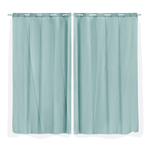 2x Blockout Curtains Panels 3 Layers with Gauze Room Darkening 180x213cm Aqua
