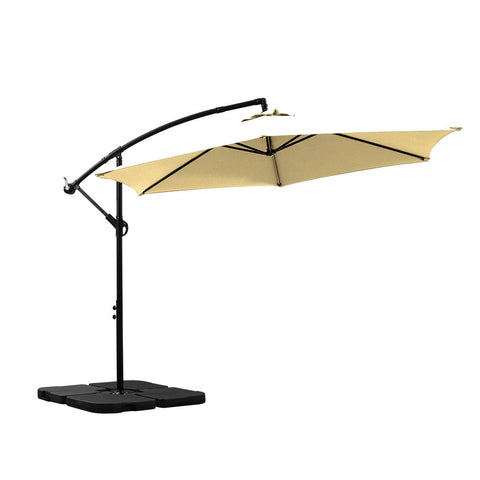 3M Outdoor Umbrella Cantilever Umbrellas Base Stand UV Shade Garden Patio Beach