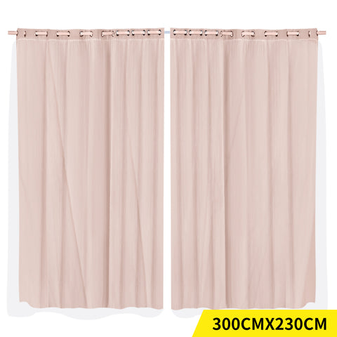 2x Blockout Curtains Panels 3 Layers with Gauze Room Darkening 300x230cm Rose