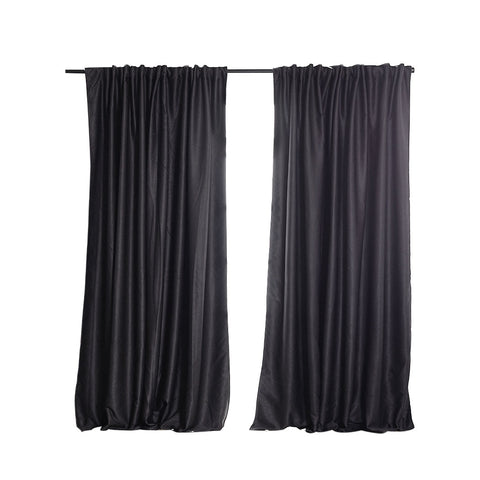 2X Blockout Curtains Curtain Blackout Bedroom 132cm x 213cm Dark Grey