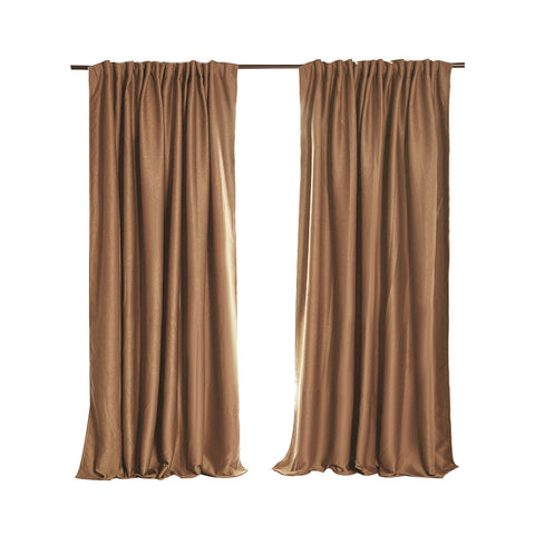2X Blockout Curtains Curtain Blackout Bedroom 132cm x 213cm Mustard