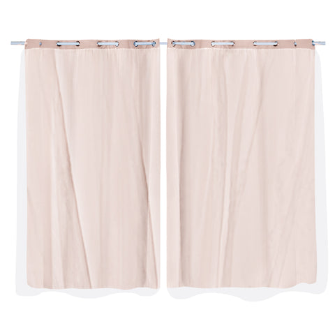 2x Blockout Curtains Panels 3 Layers with Gauze Room Darkening 140x230cm Rose