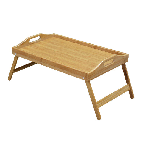 Wooden Folding Tray Bamboo Fold Up Lap Tray Tea Coffee Table Breakfast
