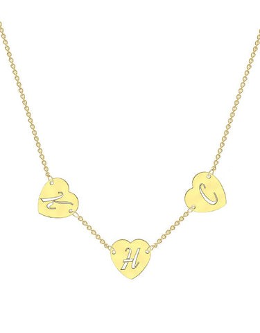 Cut Out Heart Initial Necklace