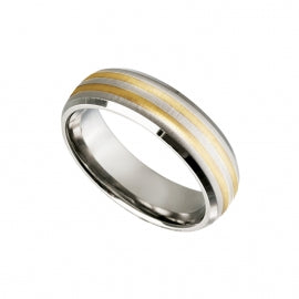 Men's Titanium Ring with Gold Inlay