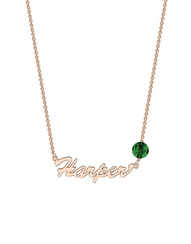 Classic Birthstone Name Necklace