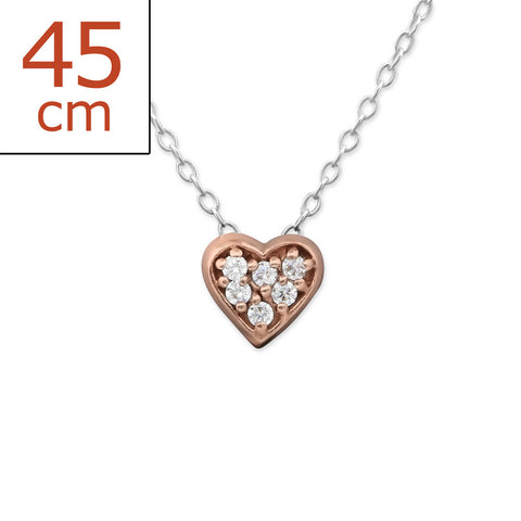 Rose Crystal Heart Necklace