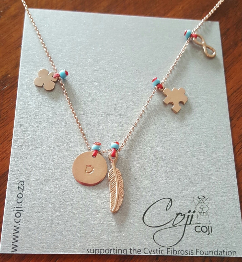 Coji Rose/Gold Initial Charm Necklace