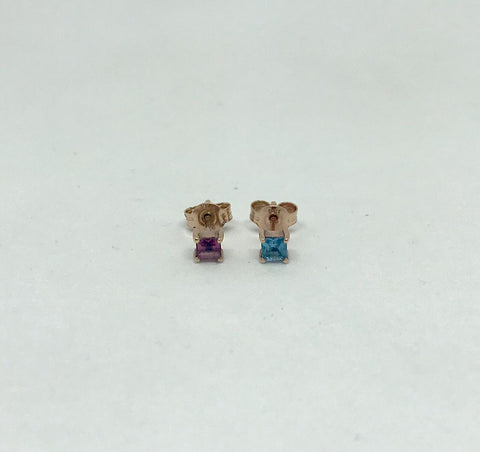 Square Gemstone Stud