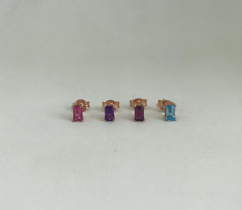 Rectangle Gemstone Stud