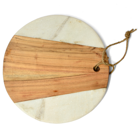 Wood & White Marble Round Board