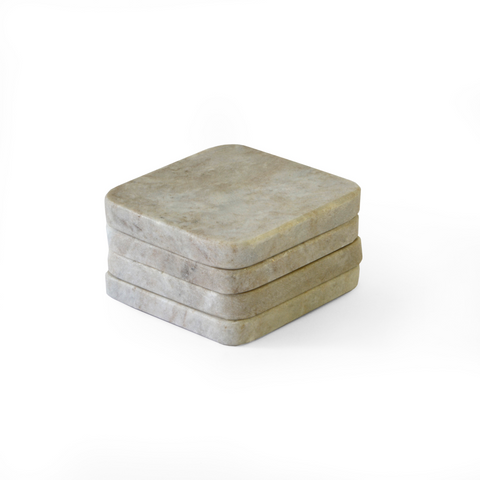 Set of 4 Light Grey Marble Coasters