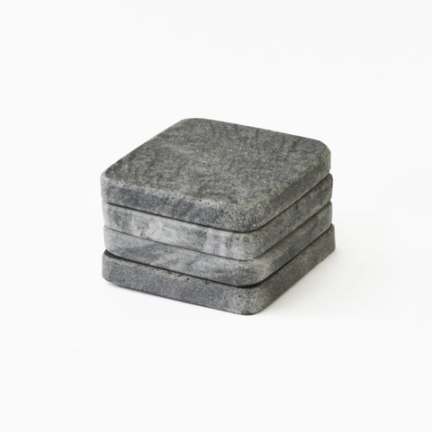 Set of 4 Dark Grey Marble Coasters