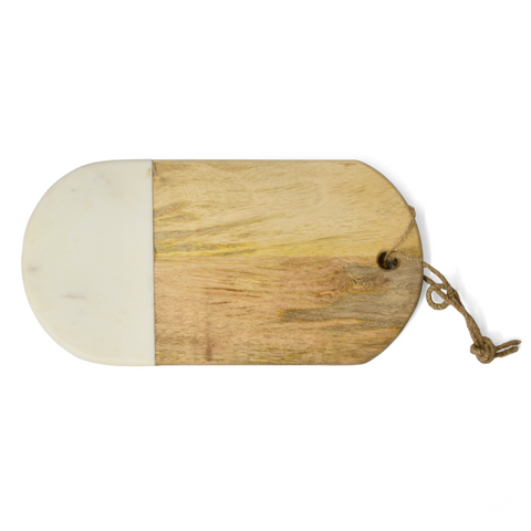 Wood & White Marble Oval Board