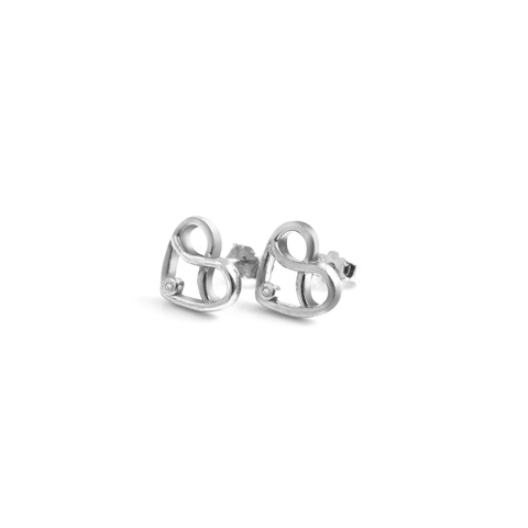 Diamond Infinity Heart Studs