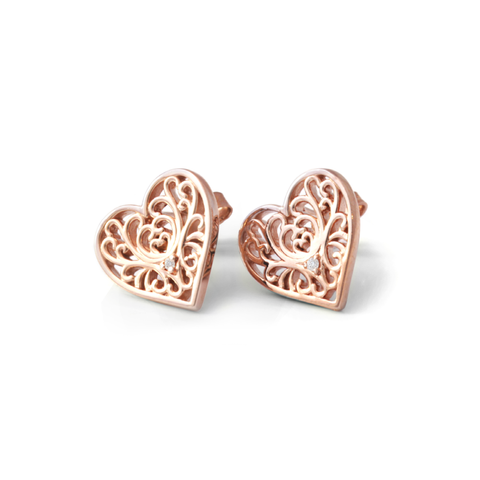 Diamond Filigree Heart Studs
