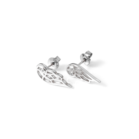 Diamond Angel Wing Studs