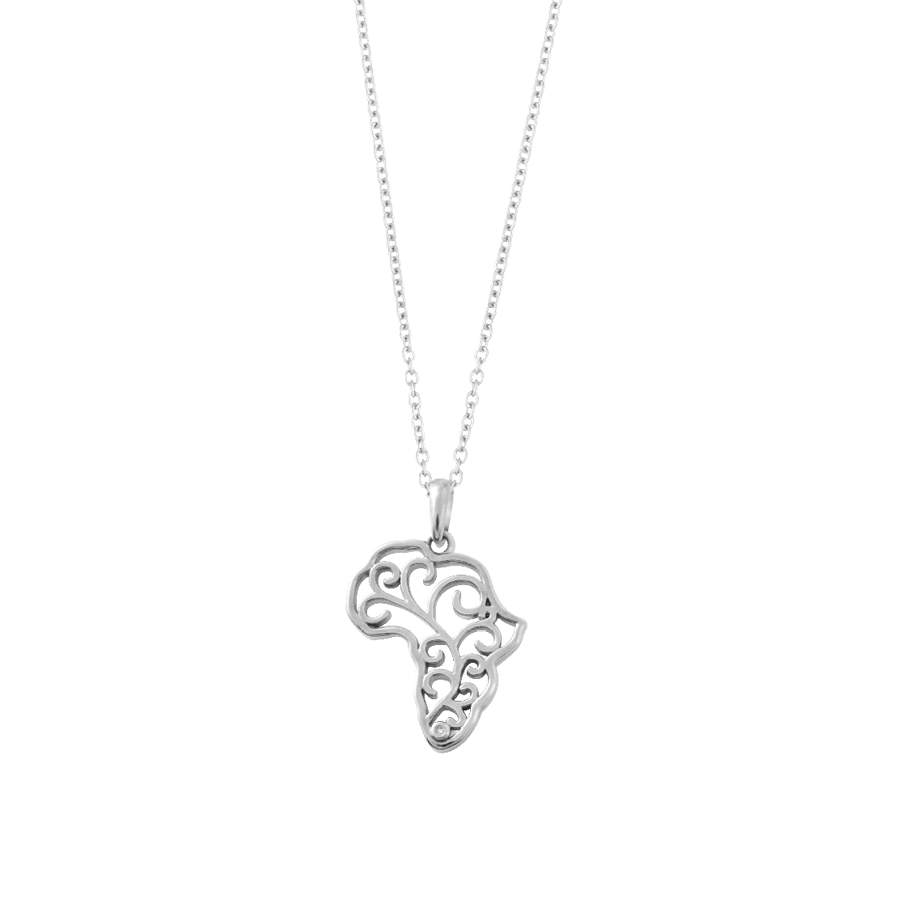 Diamond Africa Map Necklace