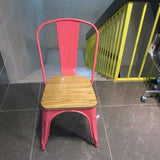 Replica Tolix Cafe Chair with Wooden Seat