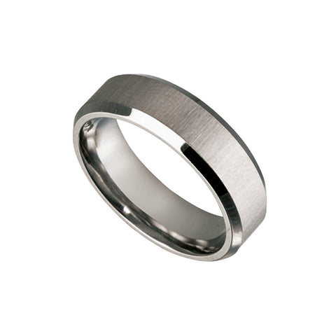 Men's Titanium Ring with Bevelled Edges