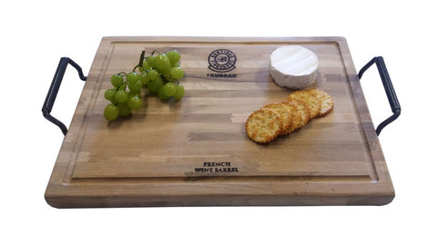 Trudeau Large Oak Steak Board with Iron Handles