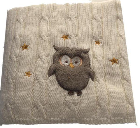 Snuggle Me Fluffy Owl Cable Knit Blanket