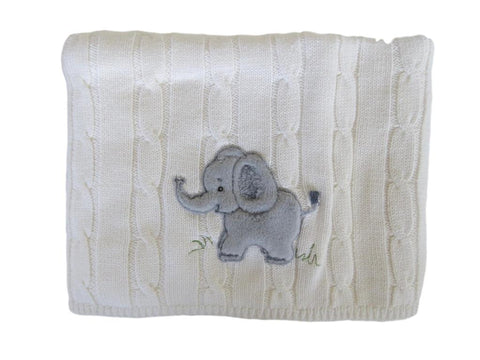 Snuggle Me Fluffy Elephant Cable Knit Blanket