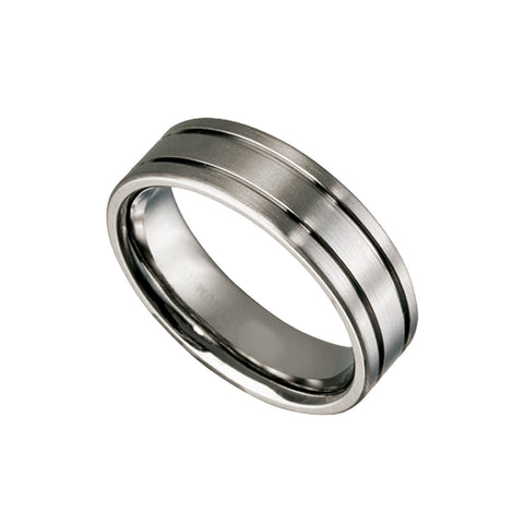 Men's Titanium Ring with Grooves