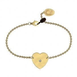 Yellow Gold Diamond Heart Bracelet