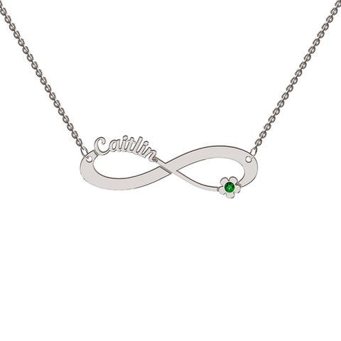 Sterling Silver Cutout Infinity Necklace With Motif