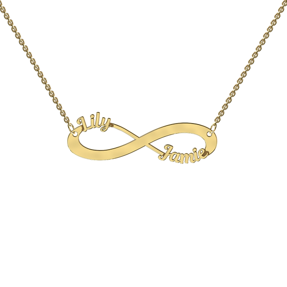 9k Yellow Gold Cutout Infinity Necklace