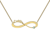 9k Yellow Gold Cutout Infinity Necklace With Motif
