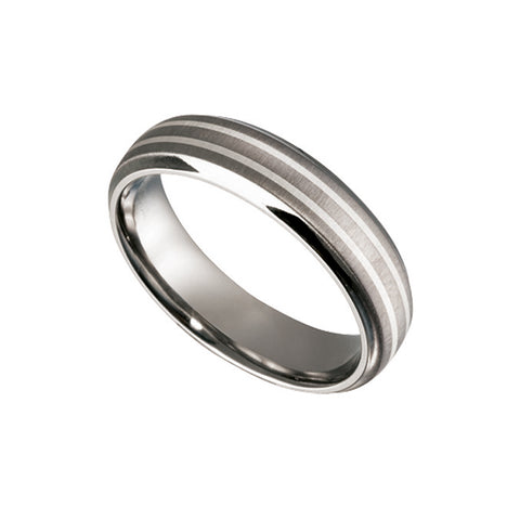 Men's Titanium Ring with Silver Inlay