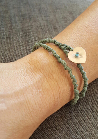 Coji Pebble Knotted Heart Bracelet - Double Wrap