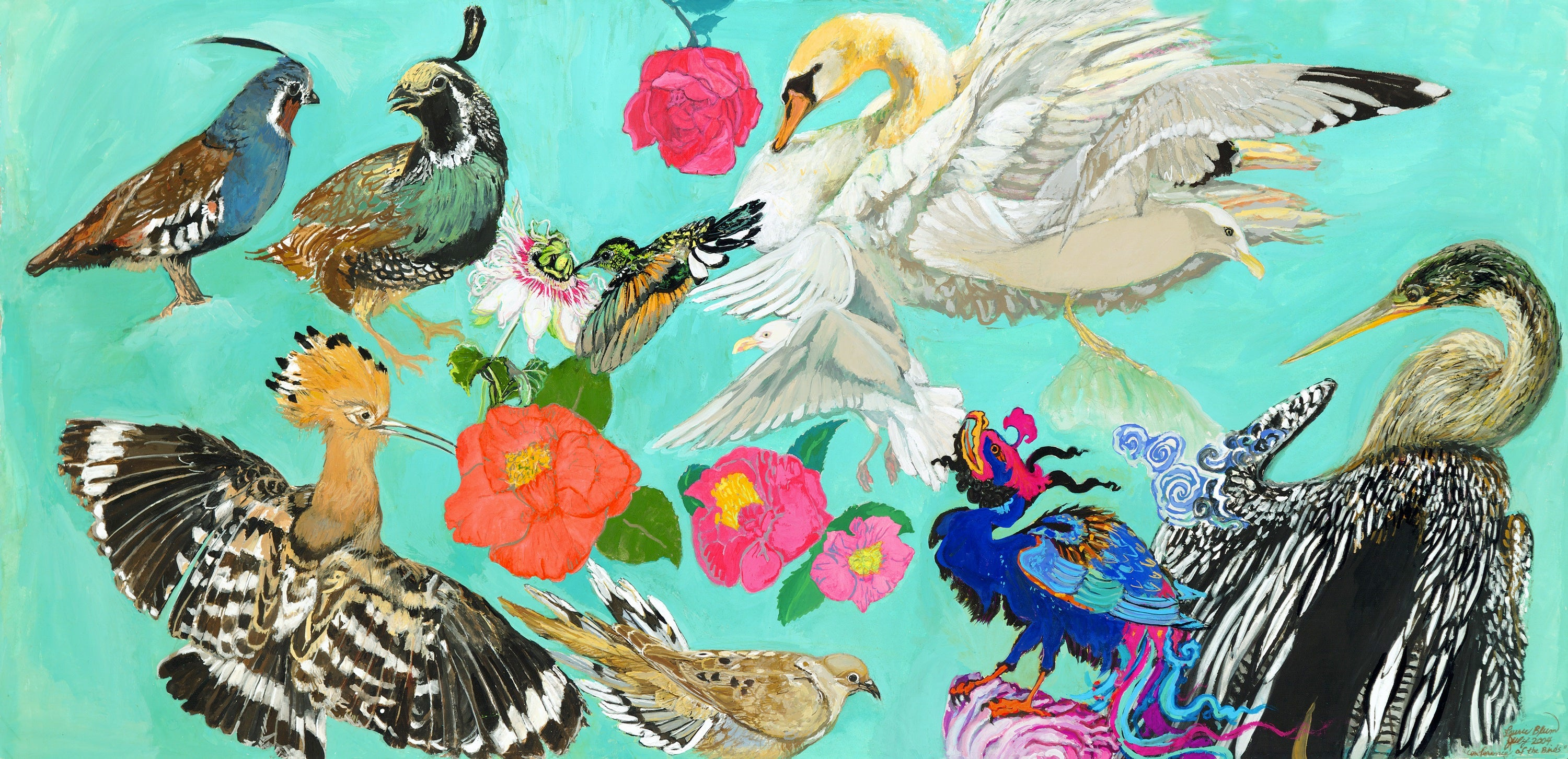 An image of Conference of the Birds Painting painted by Laurie Blum. The painting has a magnificent turquoise background with flowers, camellias, roses, and the Mountain Quail and California Quail, Hoopoe, Hummingbird, Mourning Dove, Swan and Seagulls, Simurgh, and Anhinga.