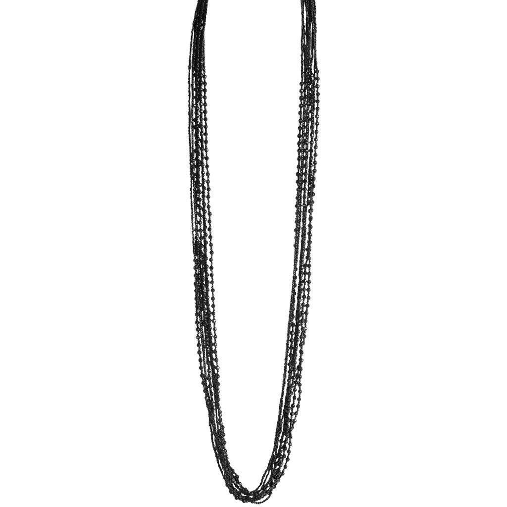 Black Onyx Stone Beaded Necklace - Blumera