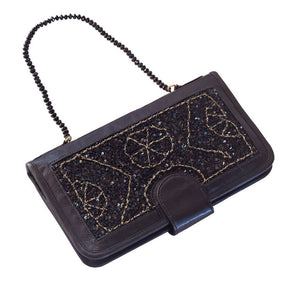 Elizabeth Patterson Classic Clutch in Black with Spinel and Black Agate - Blumera
