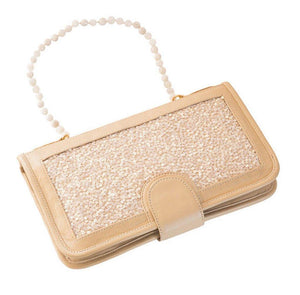 Elizabeth Patterson Classic Clutch in Cream with Mother of Pearl - Blumera