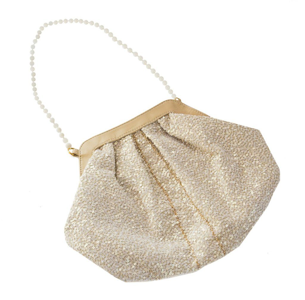 Elizabeth Patterson Small Purse in Creme with Mother of Pearl and Swarovski Crystal - Blumera