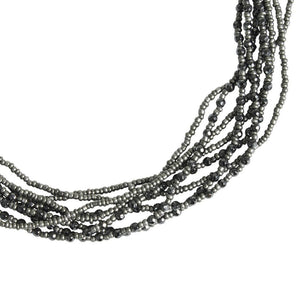 Hematite and Grey Beaded Eight Strand Necklace - Blumera