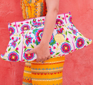 Nadine Oversized Clutch in Poppin' White - Blumera