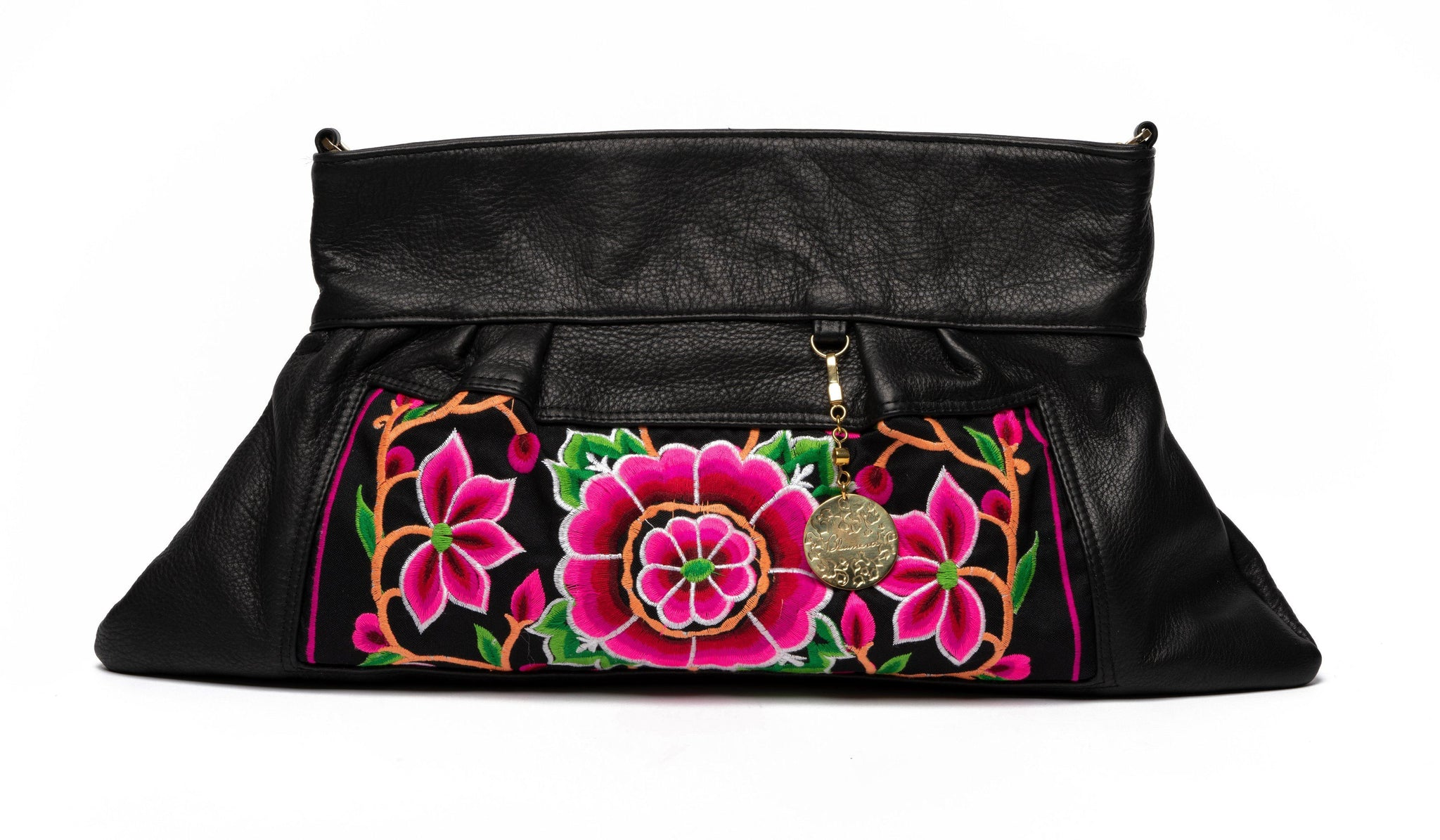 Nonny Black Leather Embroidered Oversized Clutch with optional strap - Blumera