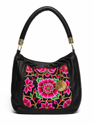 Nonny Black Leather Embroidered Shoulder Bag - Blumera