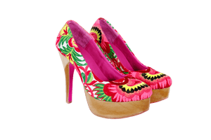 Nonny Embroidered Wood Pumps - Blumera