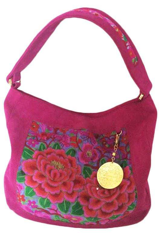 Nonny Fuchsia Embroidered Shoulder Bag - Blumera