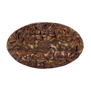 Oval Sonokeling Wood Carved Clutch - Limited Edition - Blumera
