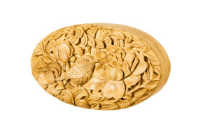 Oval Wood Carved Clutch - Sustainable Jackfruit Wood - Blumera