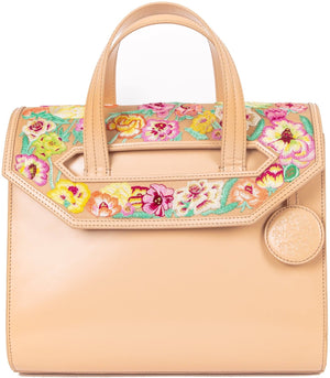 Poppies! Beige Large Satchel - Blumera