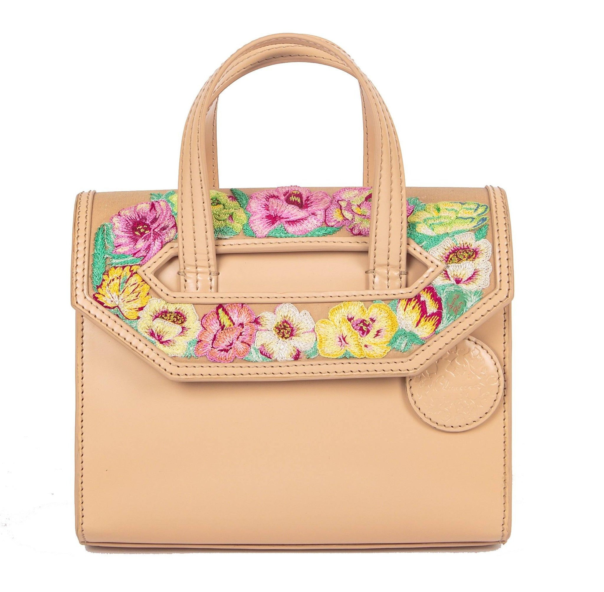 Poppies! Beige Mini Satchel - Blumera