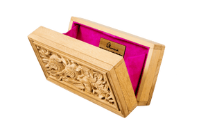 Rectangle Wood Carved Clutch - Sustainable Jackfruit Wood - Blumera